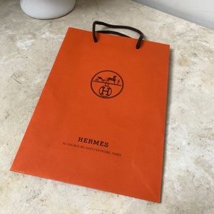 Authentic iconic orange Hermes paper Shopping Bag